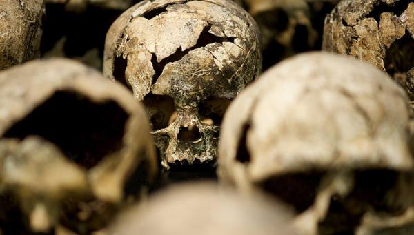 На Украине школу оштукатурили костями советских солдат!