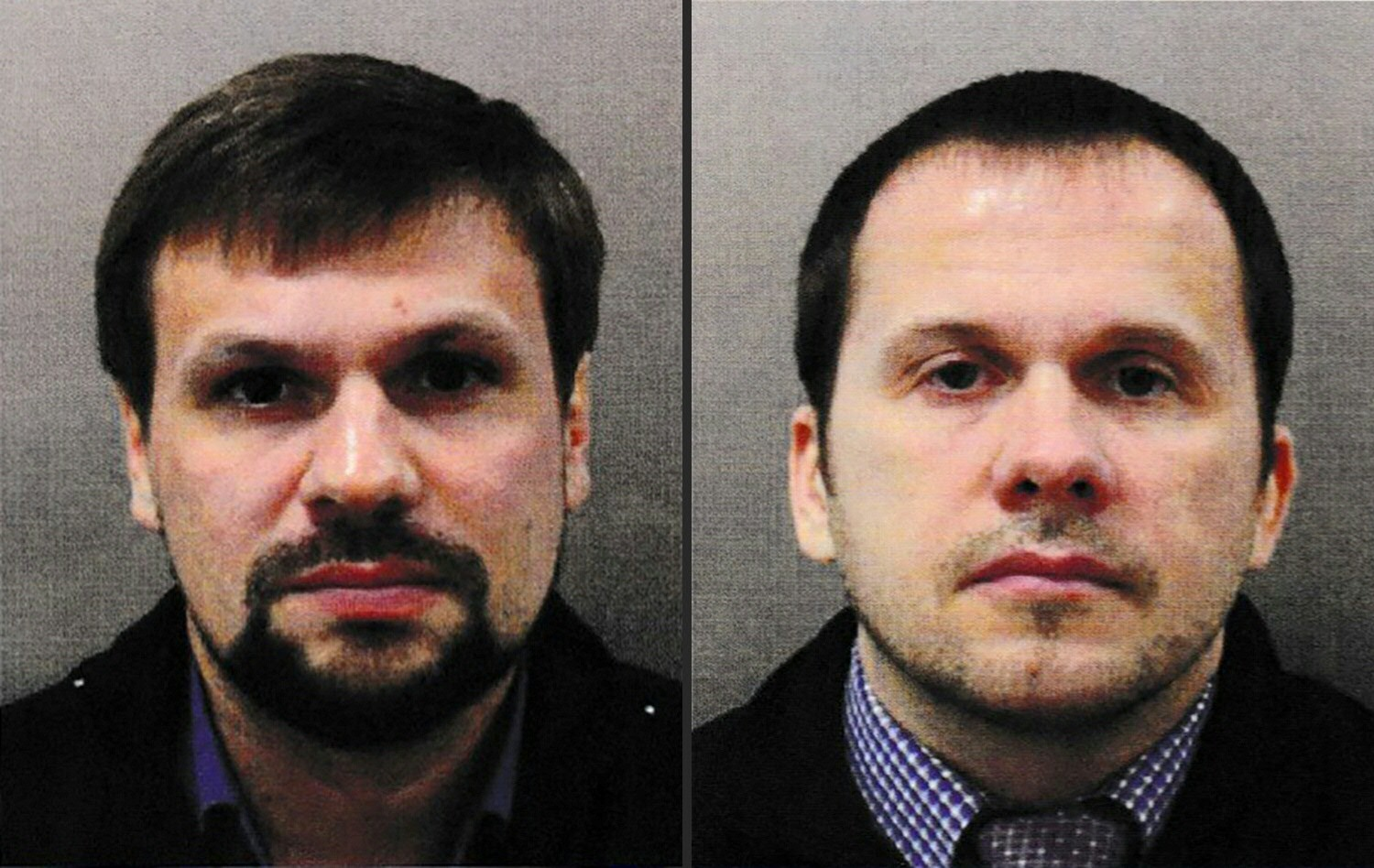 """(COMBO) This combination of undated handout pictures released by the British Metropolitan Police Service  created in London on on September 05, 2018 shows Ruslan Boshirov (L) and Alexander Petrov, who are wanted by British police in connection with the nerve agent attack on former Russian spy Sergei Skripal and his daughter Yulia. - British prosecutors said Wednesday they have obtained a European arrest warrant for two Russians blamed for a nerve agent attack on a former spy in the city of Salisbury. Police identified Alexander Petrov and Ruslan Boshirov as the men who tried to kill Russian former double agent Sergei Skripal and his daughter Yulia with Novichok in March 2018. British prosecutors said Wednesday they have obtained a European arrest warrant for two Russians blamed for a nerve agent attack on a former spy in the city of Salisbury. Police identified Alexander Petrov and Ruslan Boshirov as the men who tried to kill Russian former double agent Sergei Skripal and his daughter Yulia with Novichok in March 2018. (Photos by HO / Metropolitan Police Service / AFP) / RESTRICTED TO EDITORIAL USE - MANDATORY CREDIT  """" AFP PHOTO / Metropolitan Police Service""""  -  NO MARKETING NO ADVERTISING CAMPAIGNS   -   DISTRIBUTED AS A SERVICE TO CLIENTS  RESTRICTED TO EDITORIAL USE - MANDATORY CREDIT  """" AFP PHOTO / Metropolitan Police Service""""  -  NO MARKETING NO ADVERTISING CAMPAIGNS   -   DISTRIBUTED AS A SERVICE TO CLIENTS /"""