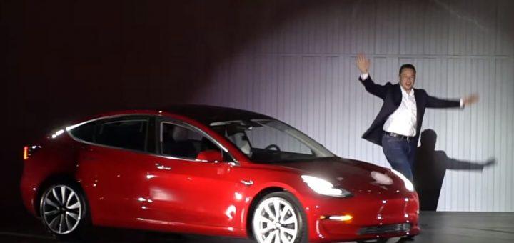 Электрокар Тесла красный
