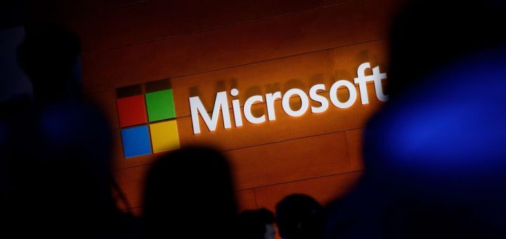 NEW YORK, NY - MAY 2: The Microsoft logo is illuminated on a wall during a Microsoft launch event to introduce the new Microsoft Surface laptop and Windows 10 S operating system, May 2, 2017 in New York City. The Windows 10 S operating system is geared toward the education market and is Microsoft's answer to Google's Chrome OS.   Drew Angerer/Getty Images/AFP == FOR NEWSPAPERS, INTERNET, TELCOS & TELEVISION USE ONLY ==