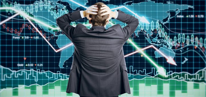 49255343 - businessman grabs the head concept with business chart on scoreboard