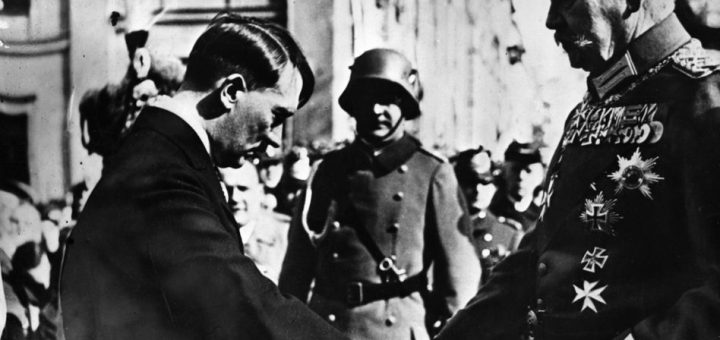 1934:  Paul Ludwig von Hindenburg shaking hands with Adolf Hitler.  (Photo by Hulton Archive/Getty Images)