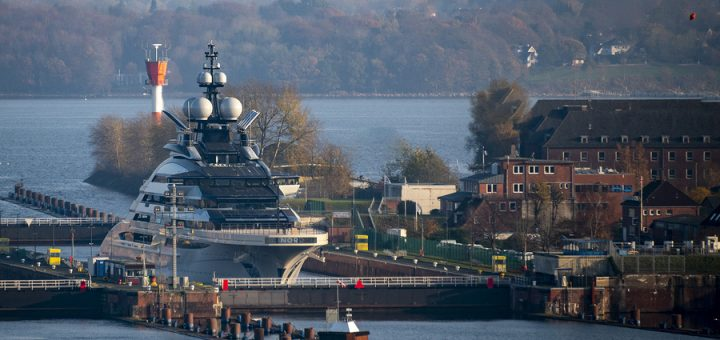 """08 November 2020, Schleswig-Holstein, Kiel: The super yacht """"Nord"""" is located in the lock Holtenau. The 142-meter-long ship built under the project name """"Opus"""" at the Lürssen shipyard in Bremen is on a test run in the Baltic Sea and is scheduled for delivery at the end of 2020. Photo: Axel Heimken/dpa (Photo by Axel Heimken/picture alliance via Getty Images)"""